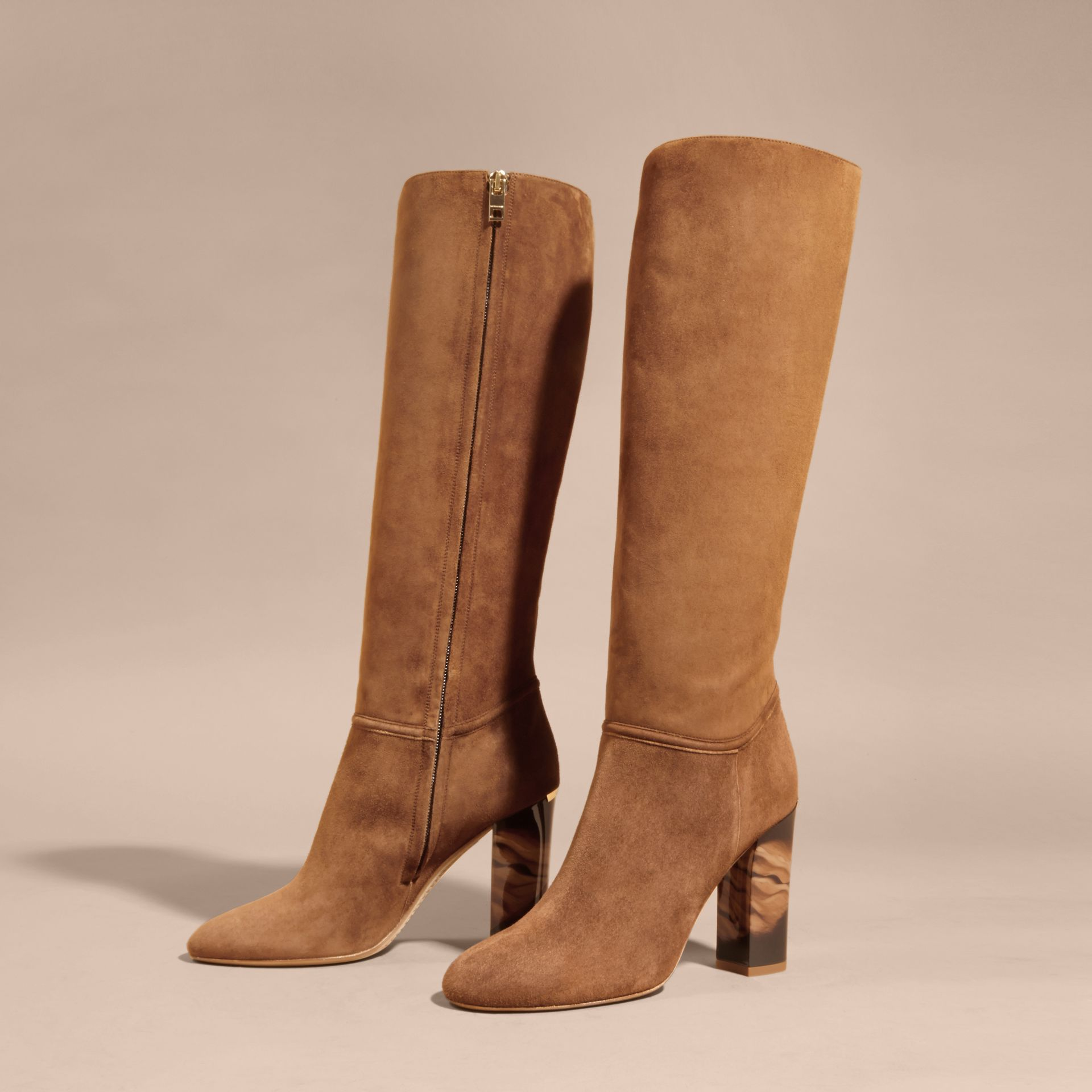Clove brown Suede Knee-high Boots - gallery image 3