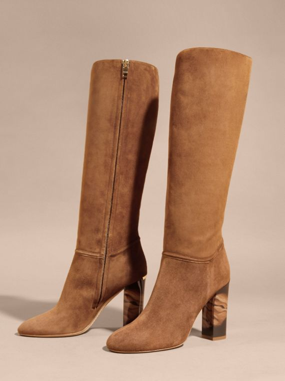 Clove brown Suede Knee-high Boots - cell image 2