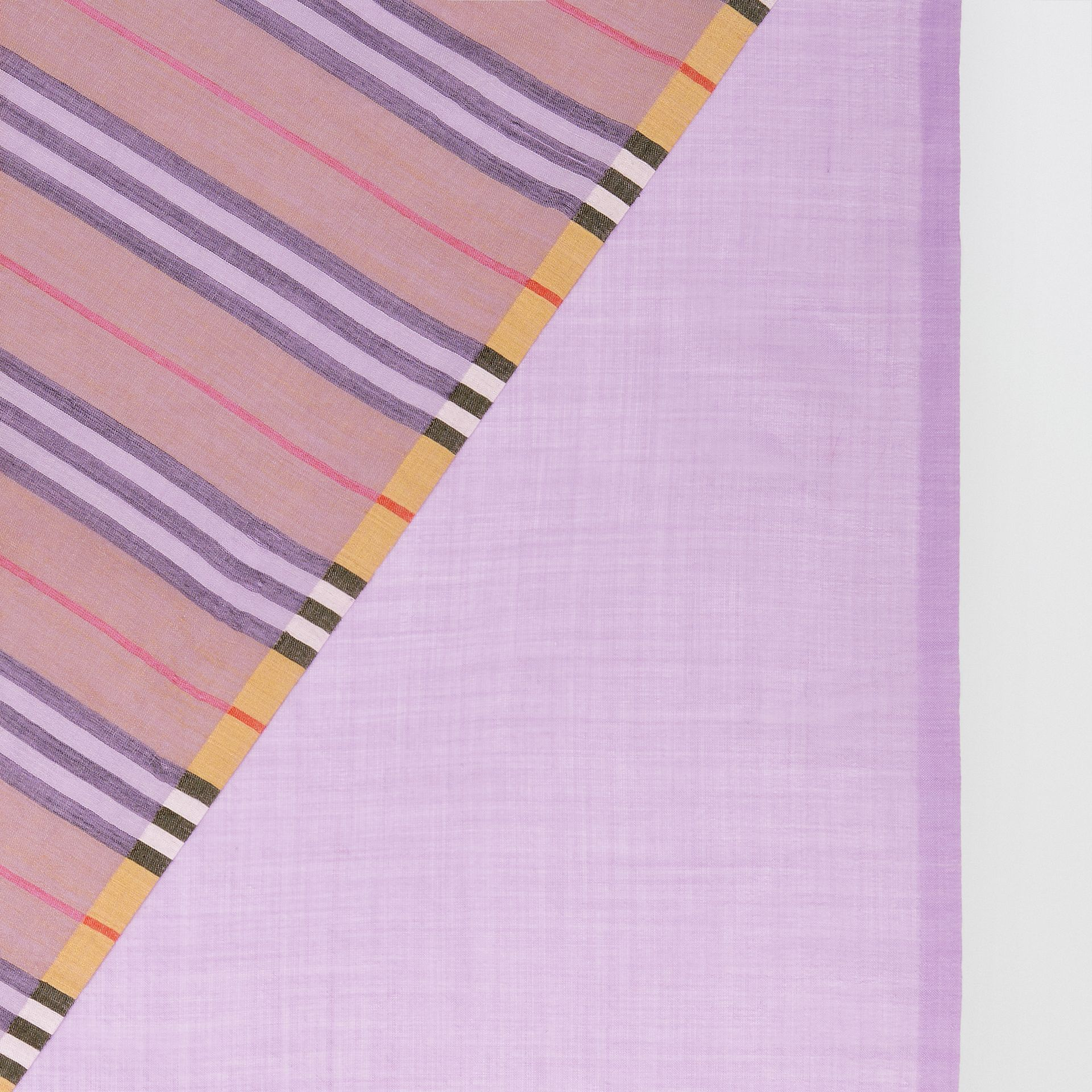 Vintage Check Colour Block Wool Silk Scarf in Lilac | Burberry - gallery image 1