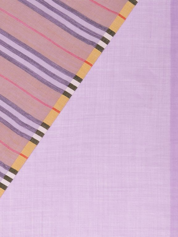 Vintage Check Colour Block Wool Silk Scarf in Lilac | Burberry Hong Kong - cell image 1