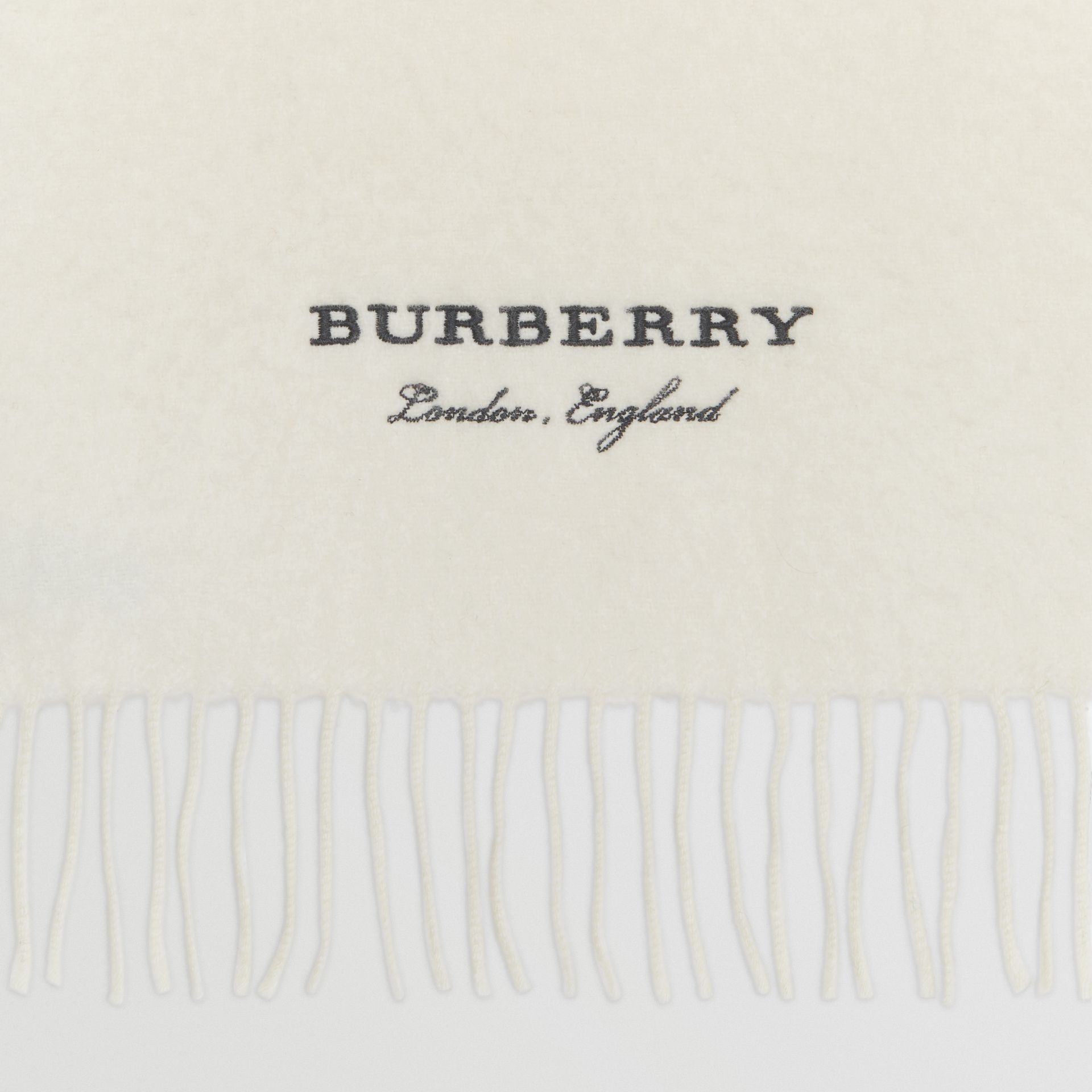 Embroidered Cashmere Fleece Scarf in Ivory | Burberry United Kingdom - gallery image 1
