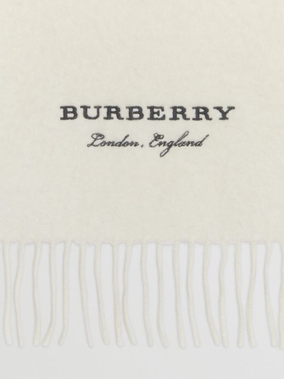 Embroidered Cashmere Fleece Scarf in Ivory | Burberry United Kingdom - cell image 1