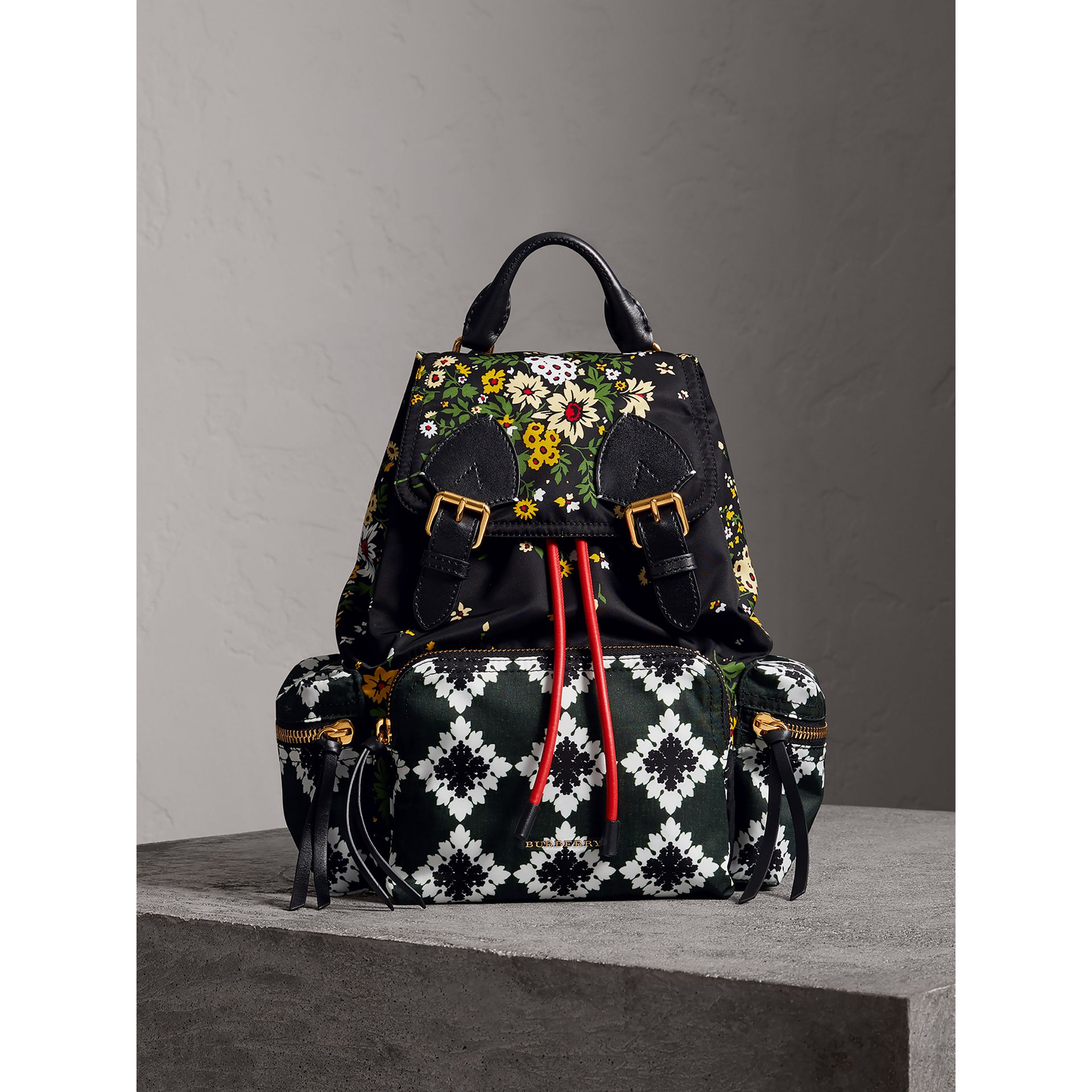 The Medium Rucksack in Floral Print in Black - Women | Burberry - gallery image 5