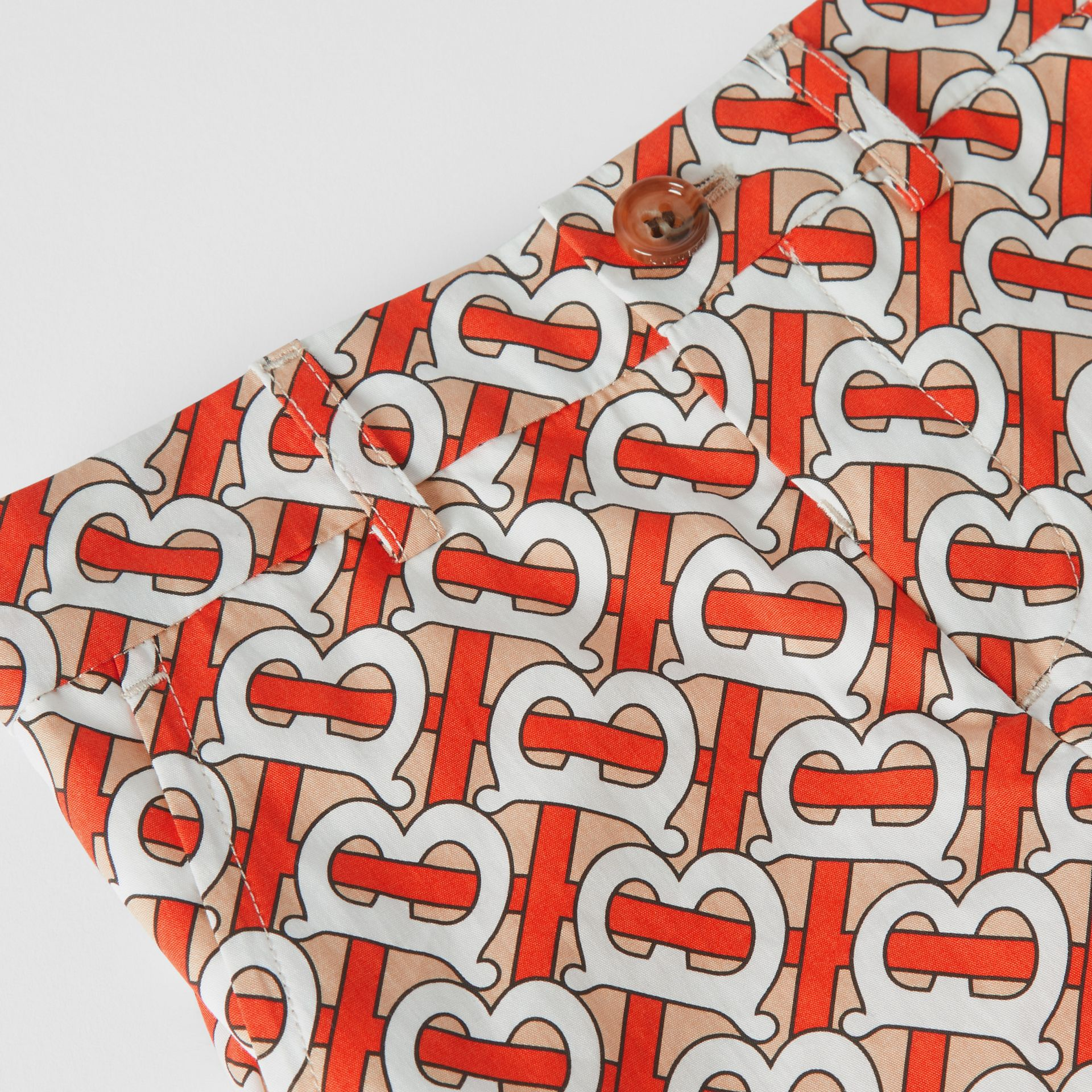 Monogram Print Cotton Poplin Shorts in Vermilion Red - Children | Burberry - gallery image 1