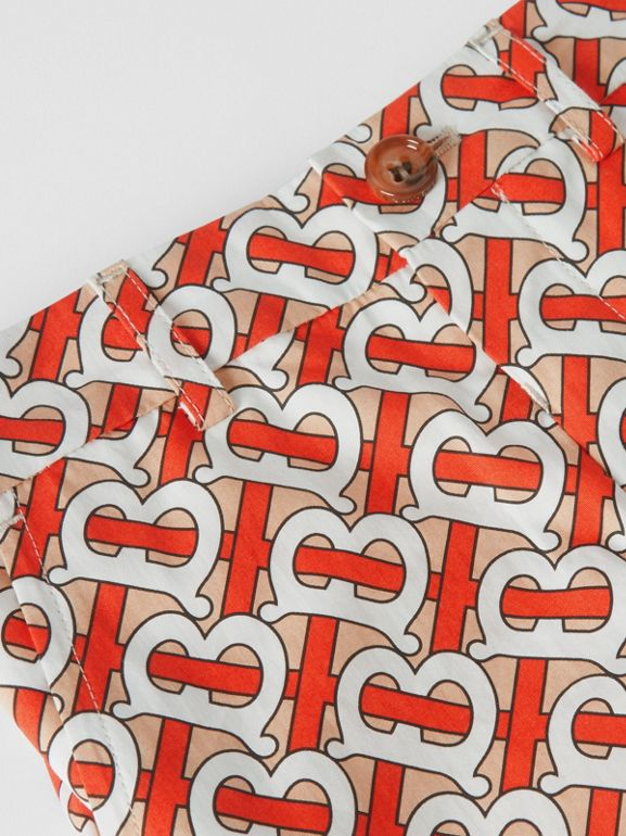 Monogram Print Cotton Poplin Shorts in Vermilion Red - Children | Burberry - cell image 1