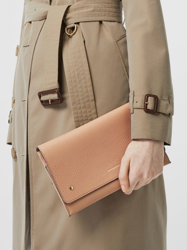 Two-tone Leather Wristlet Clutch in Light Camel - Women | Burberry Hong Kong S.A.R - cell image 2