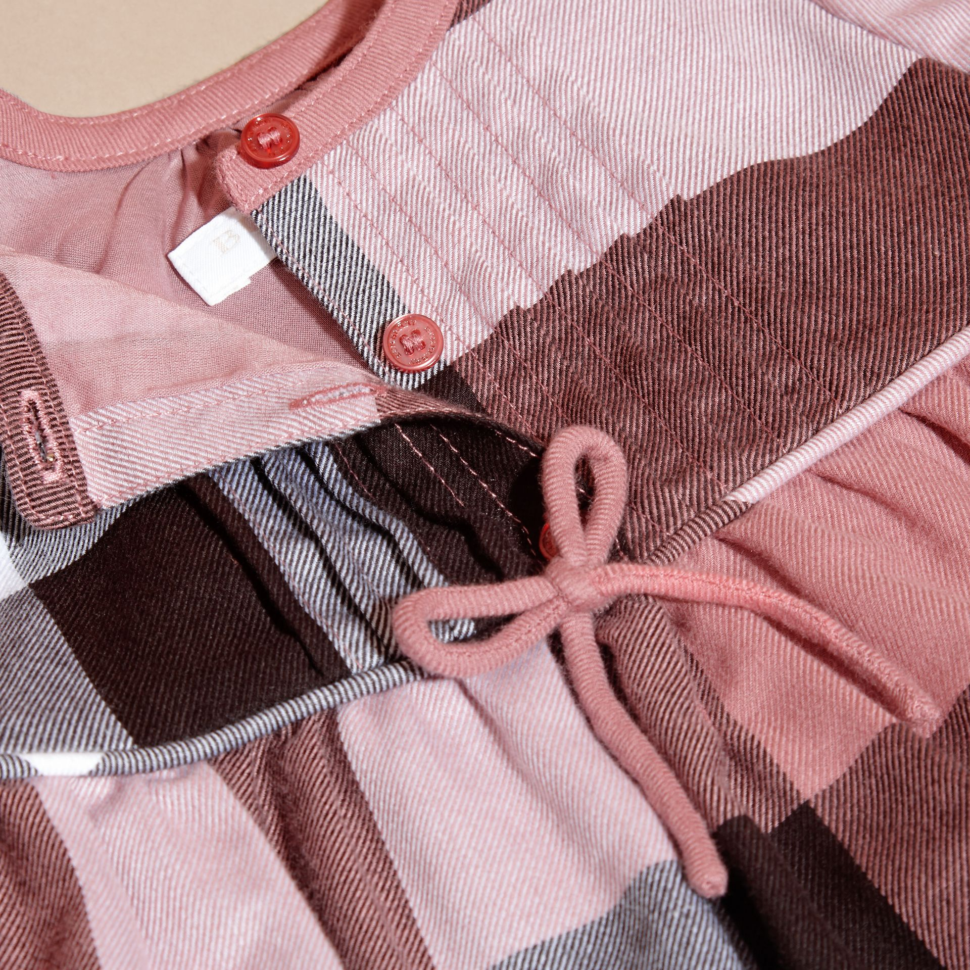 Antique rose Check Cotton Flannel Dress with Bow Detail Antique Rose - gallery image 2