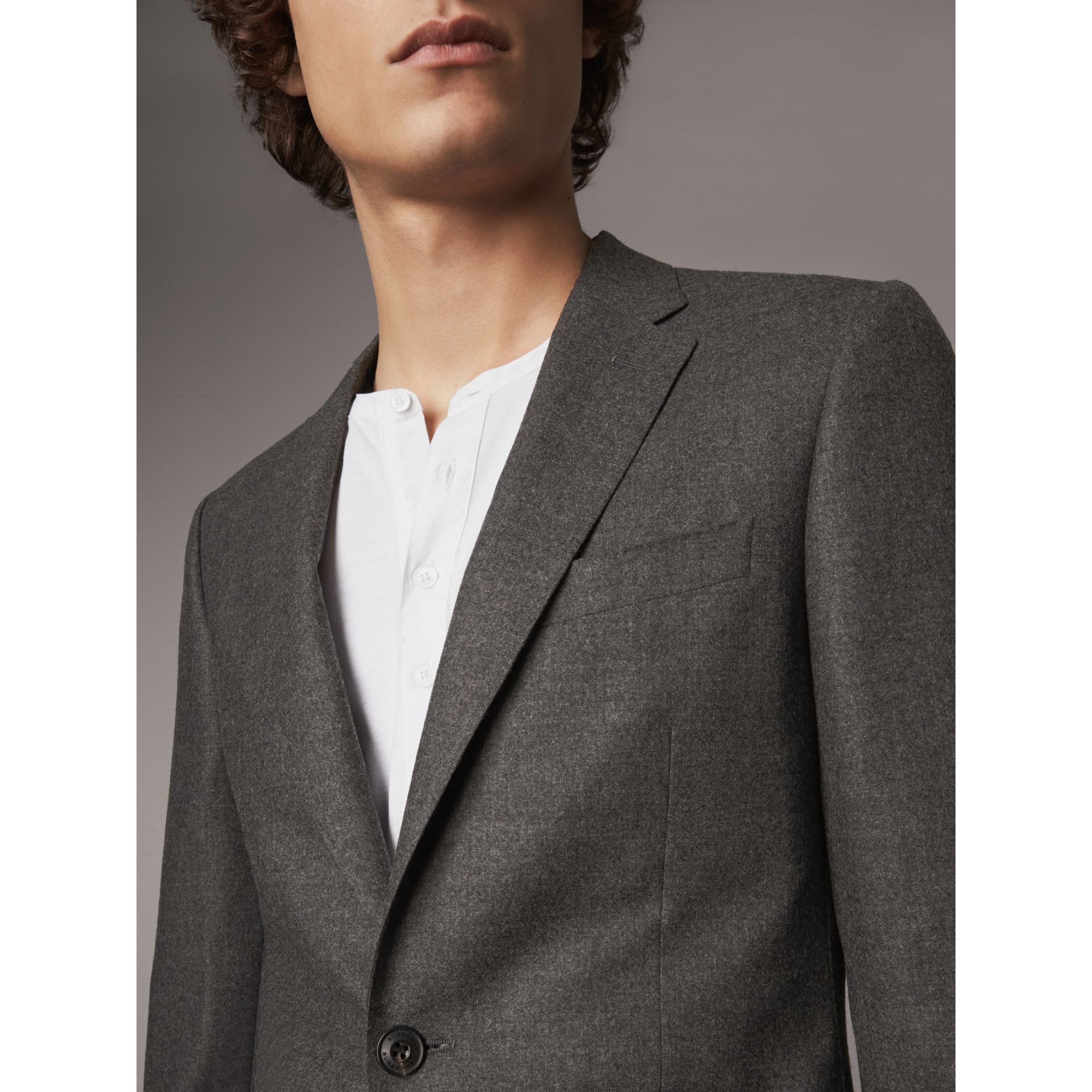 Soho Fit Wool Flannel Suit in Dark Charcoal Melange - Men | Burberry Canada - gallery image 5