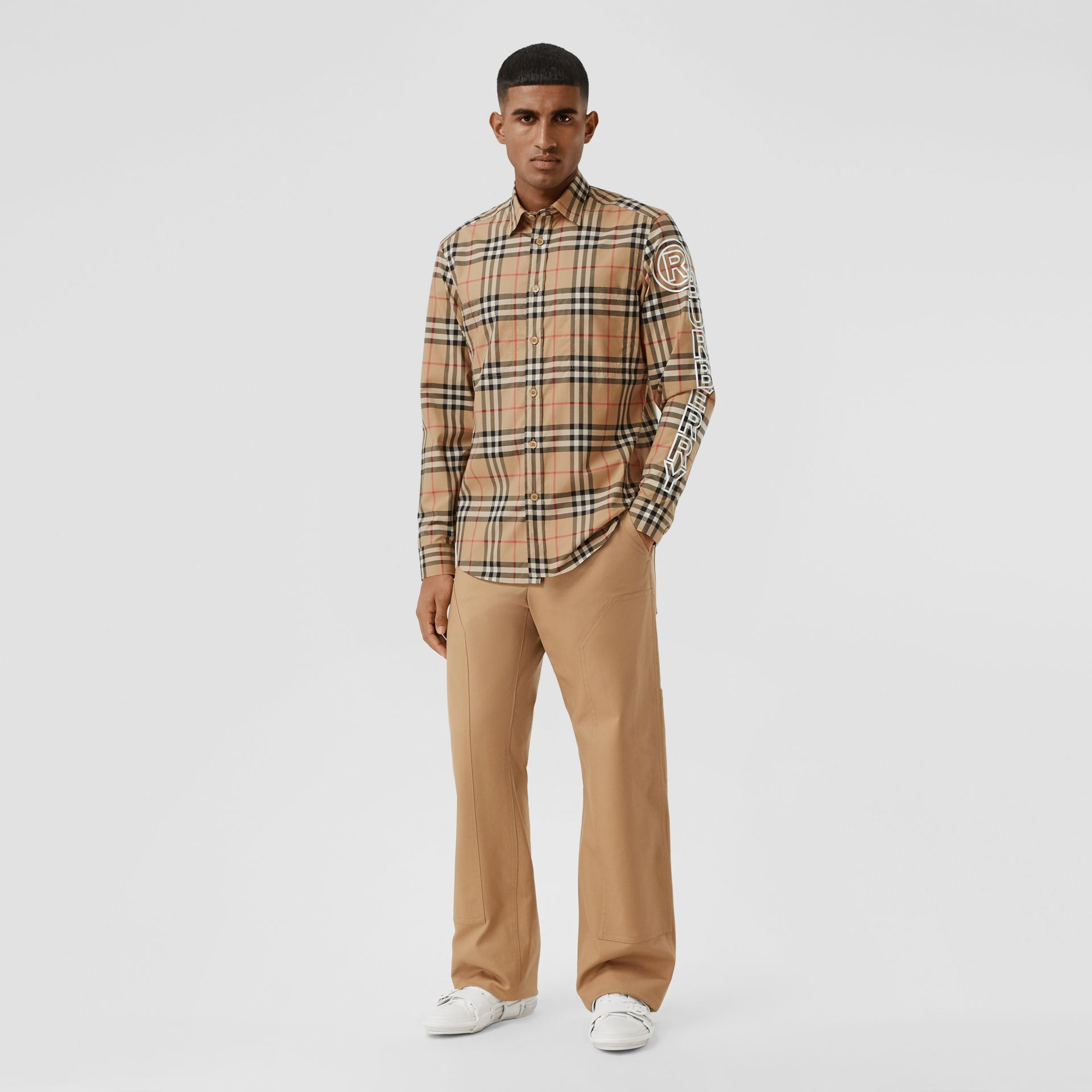 Logo Print Vintage Check Cotton Poplin Shirt in Archive Beige - Men | Burberry - gallery image 5