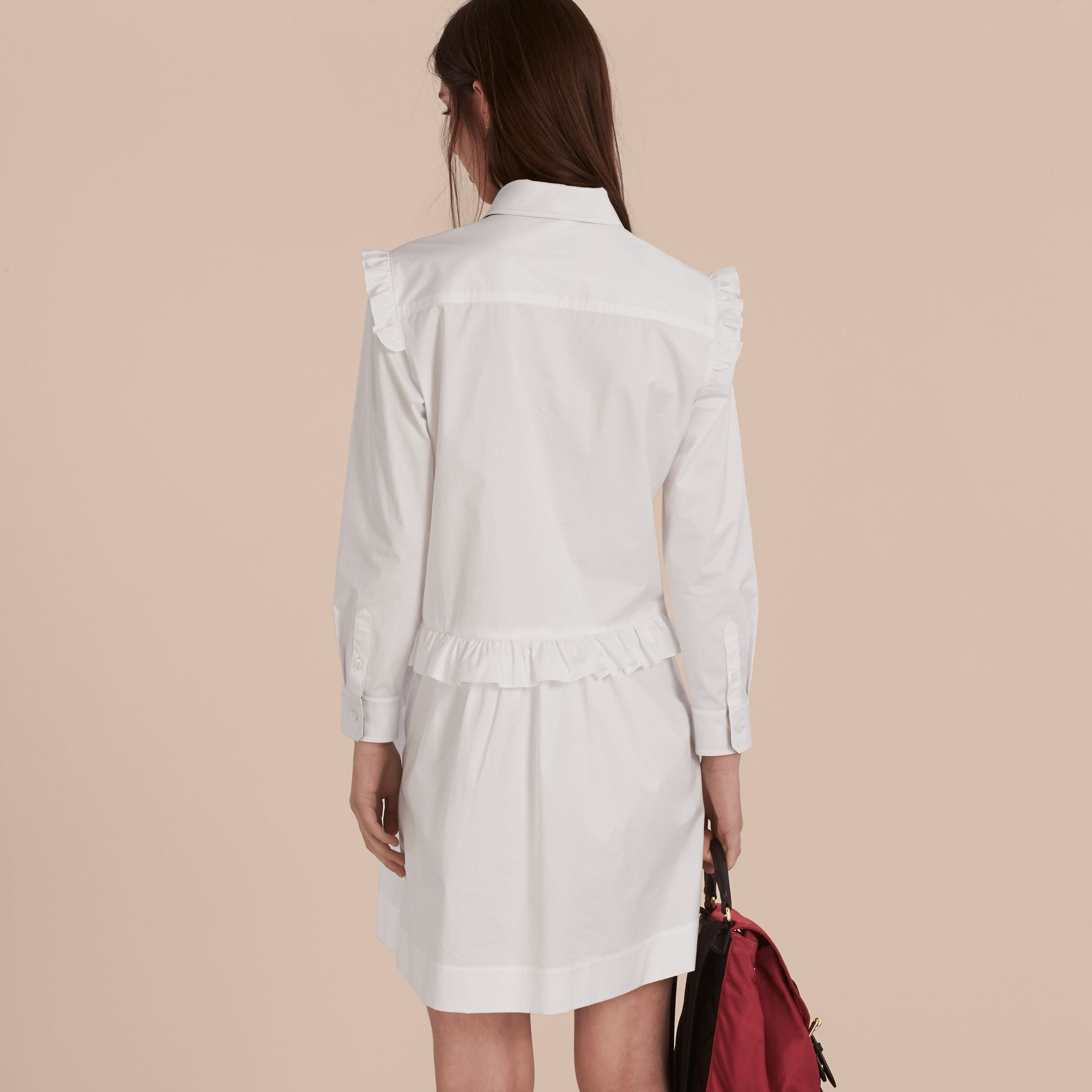 Ruffle and Check Detail Cotton Shirt Dress White - gallery image 3