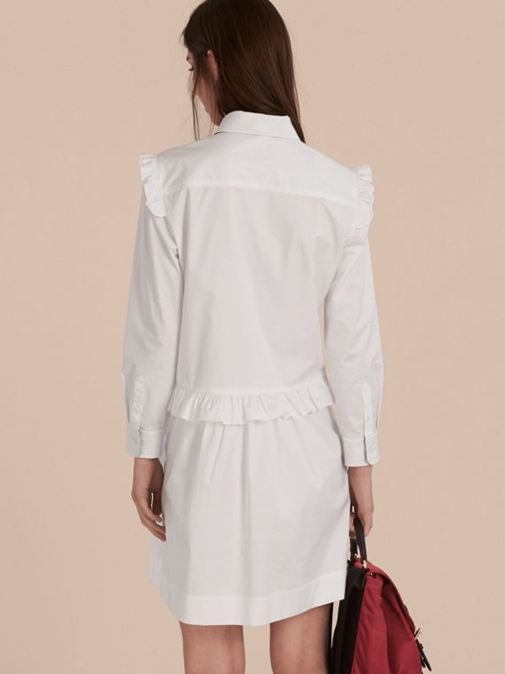 Ruffle and Check Detail Cotton Shirt Dress White - cell image 2