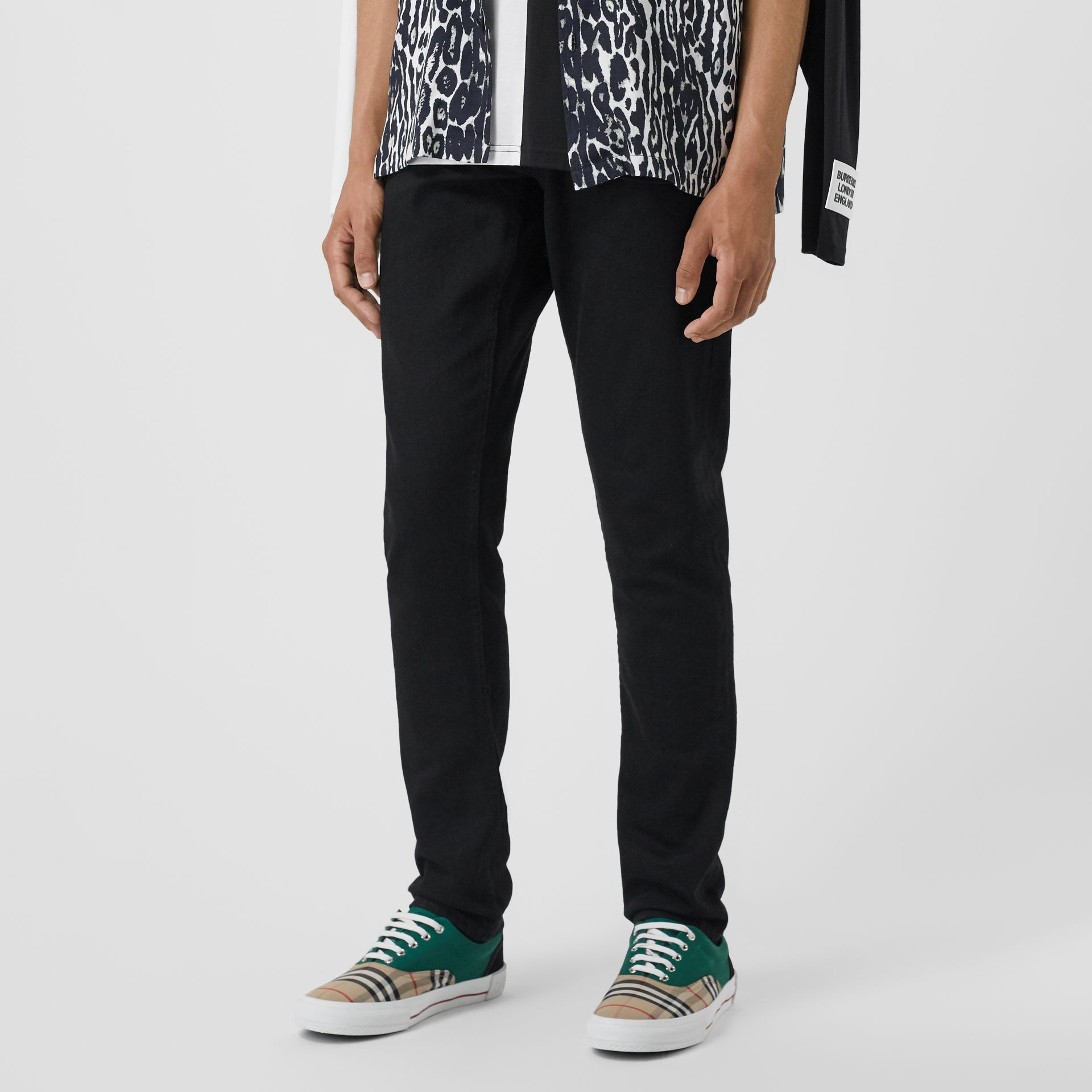 Slim Fit Japanese Denim Jeans in Black - Men | Burberry - gallery image 4
