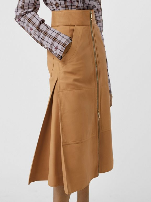 Lambskin High-waisted Skirt in Caramel - Women | Burberry United Kingdom - cell image 1