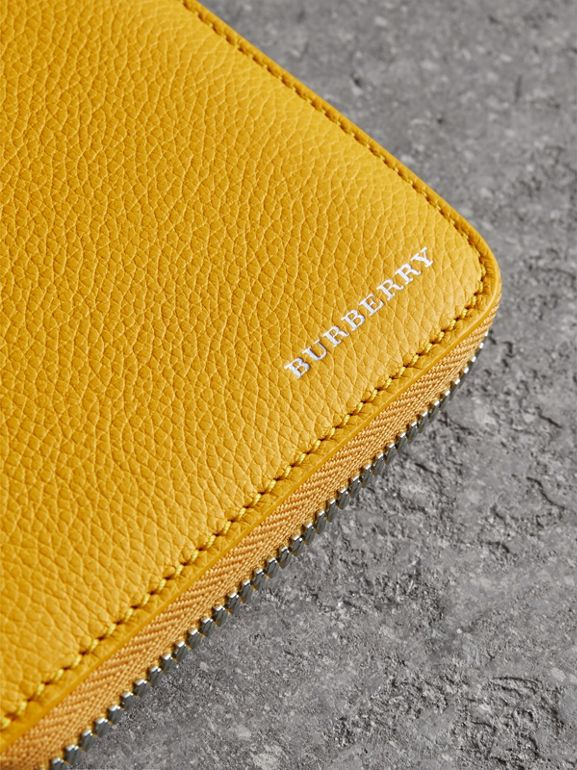 Grainy Leather Ziparound Wallet in Bright Ochre Yellow - Men | Burberry - cell image 1