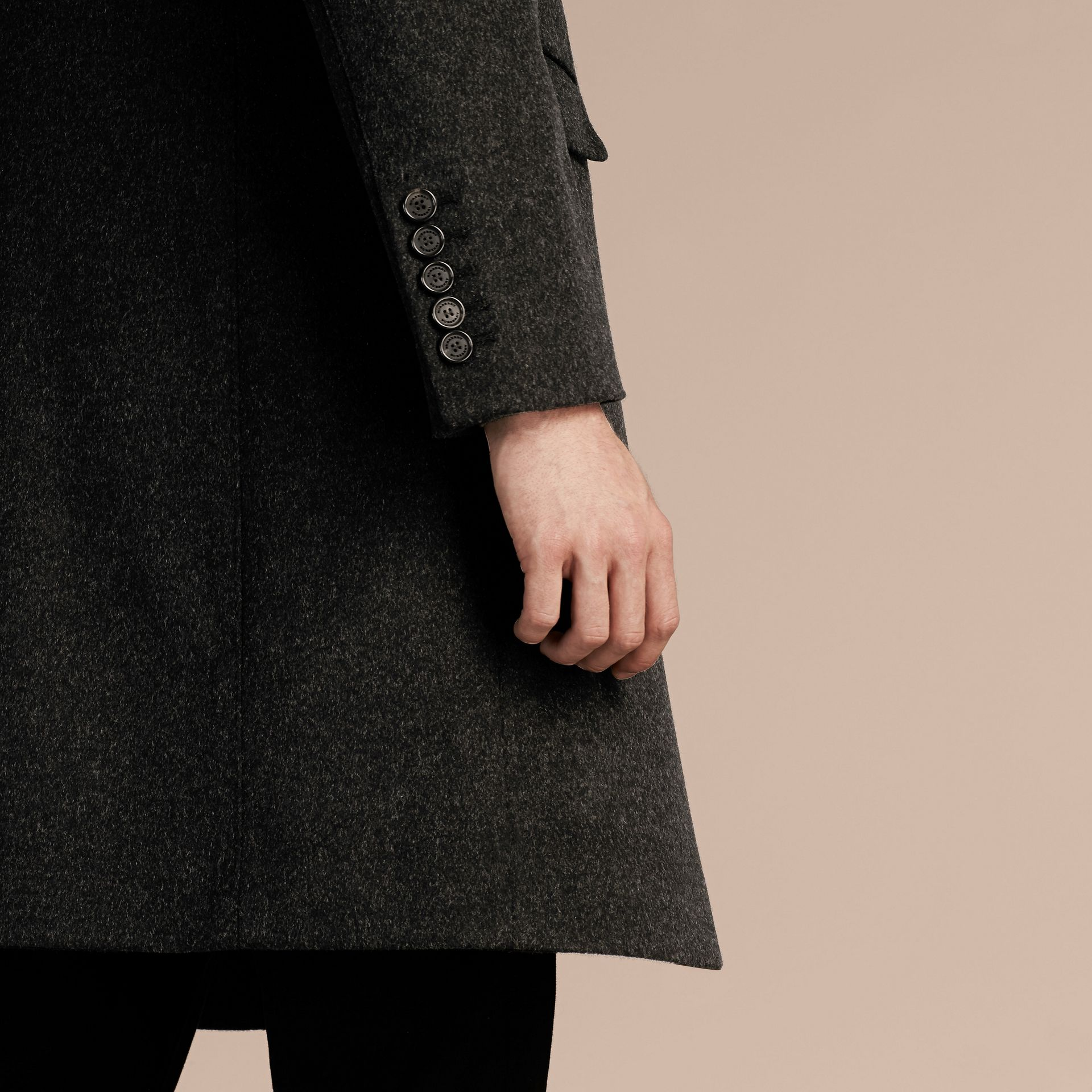 Dark grey melange Wool Cashmere Coat with Detachable Warmer - gallery image 5
