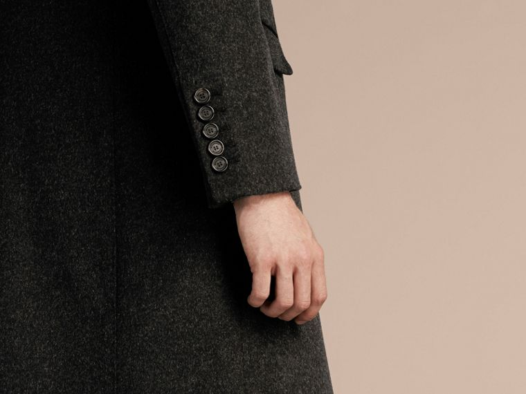 Dark grey melange Wool Cashmere Coat with Detachable Warmer - cell image 4
