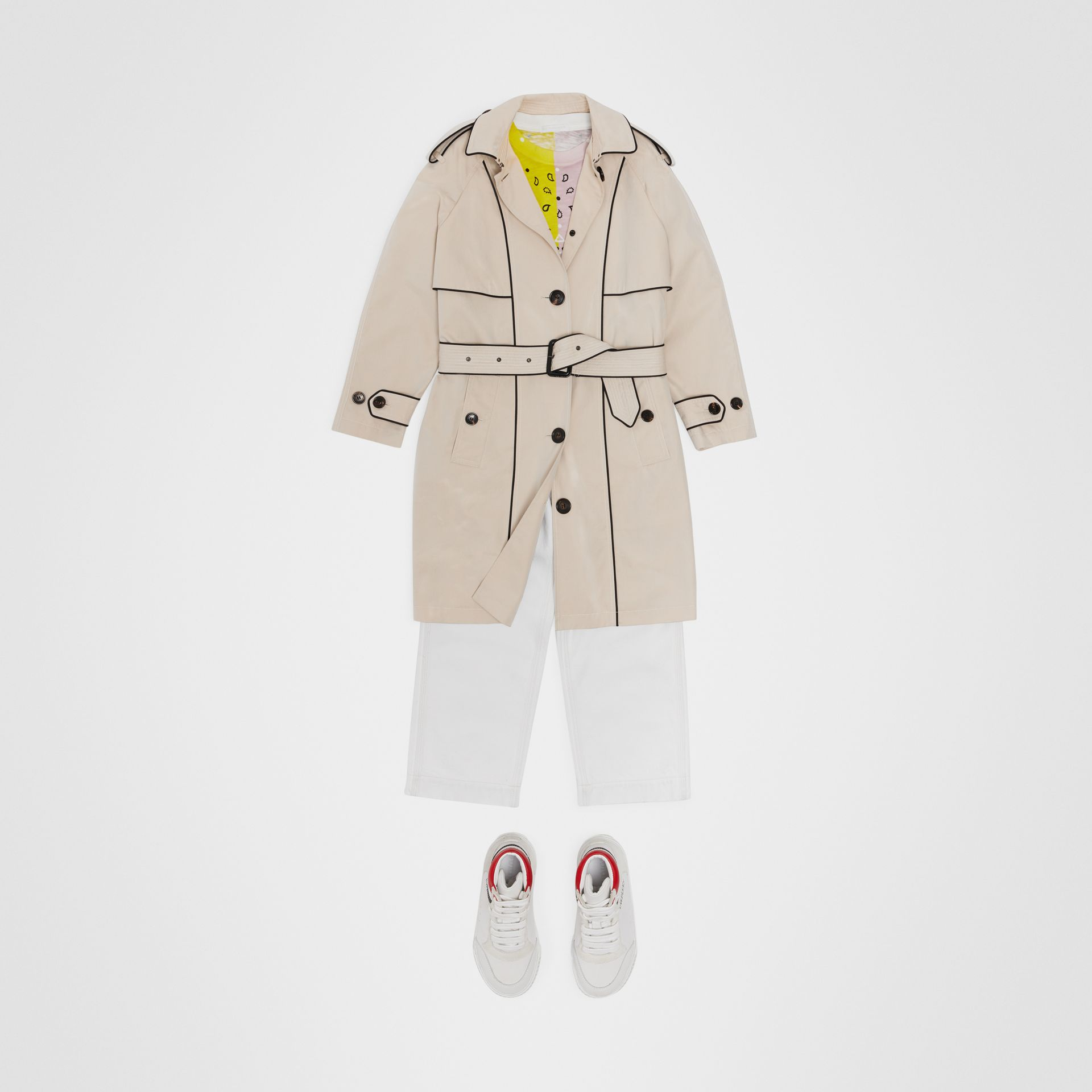 Piping Detail Tropical Gabardine Trench Coat in Stone - Children | Burberry - gallery image 2