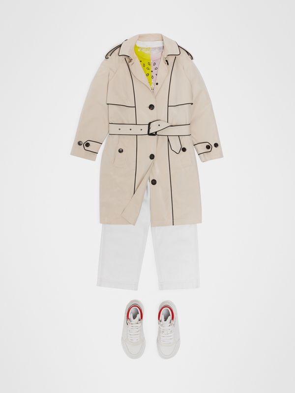 Piping Detail Tropical Gabardine Trench Coat in Stone - Children | Burberry - cell image 2