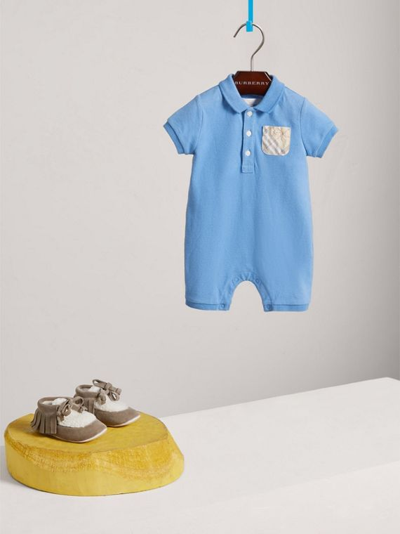 Check Detail Stretch Cotton Piqué Playsuit in Chalk Blue