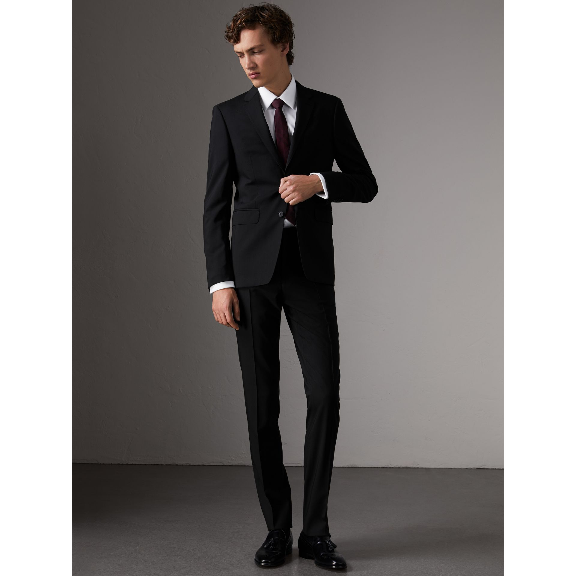 Slim Fit Wool Trousers in Black - Men | Burberry Canada - gallery image 0