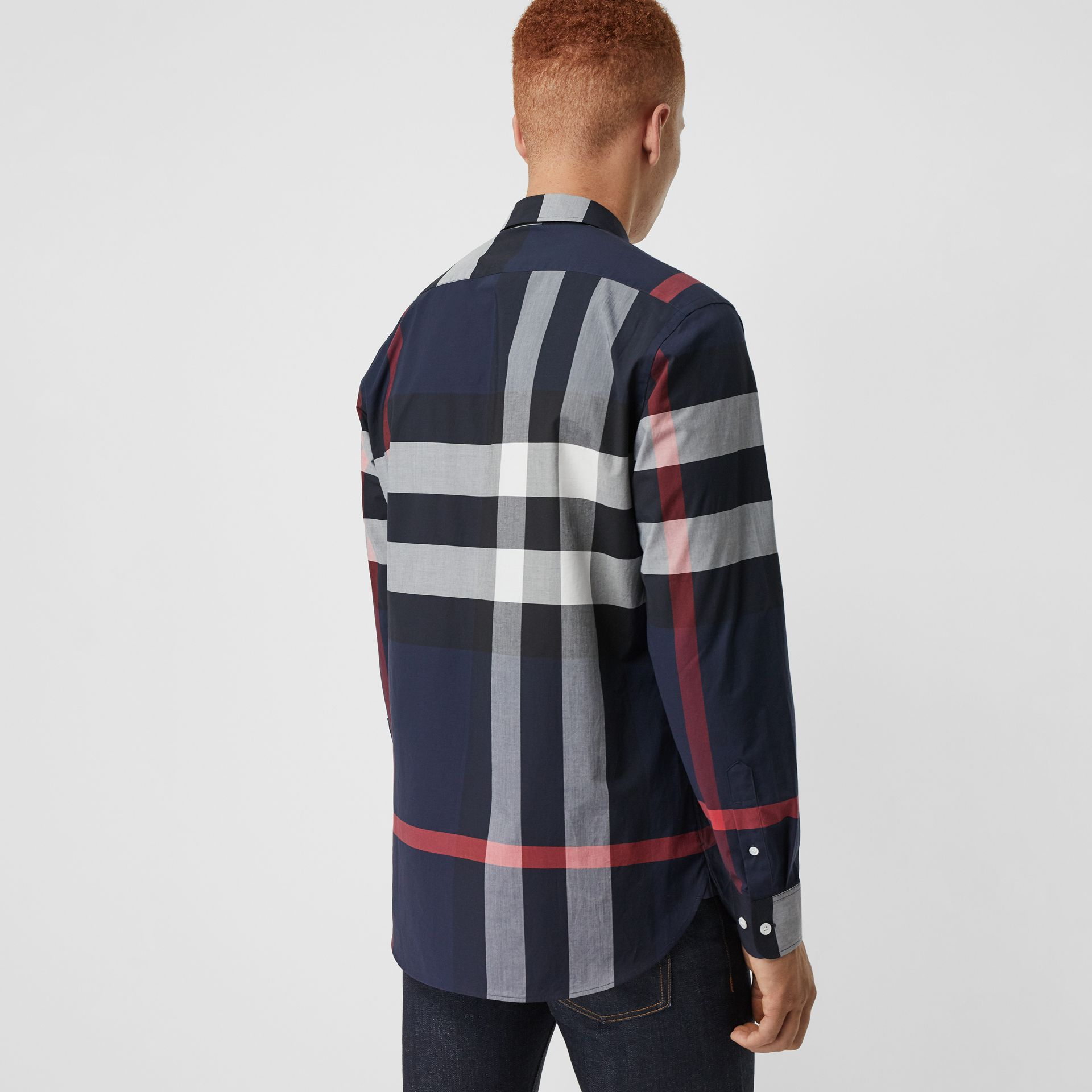 Check Stretch Cotton Shirt in Navy - Men | Burberry Canada - gallery image 2
