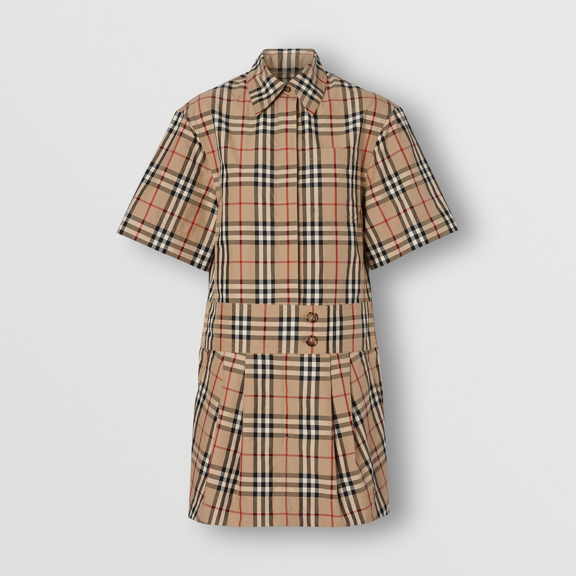 Short-sleeve Vintage Check Shirt Dress in Archive Beige - Women | Burberry - gallery image 3