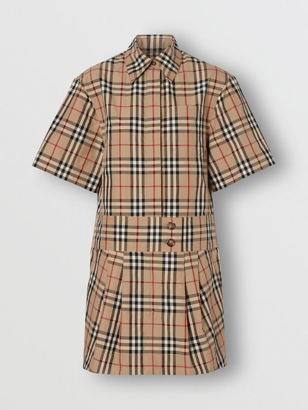 Short-sleeve Vintage Check Shirt Dress in Archive Beige | Burberry United Kingdom - cell image 3