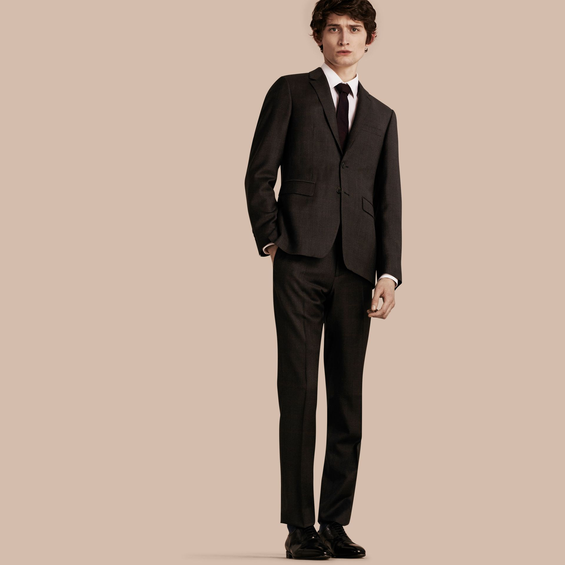 Dark brown Slim Fit Check Wool Travel Tailoring Suit - gallery image 1