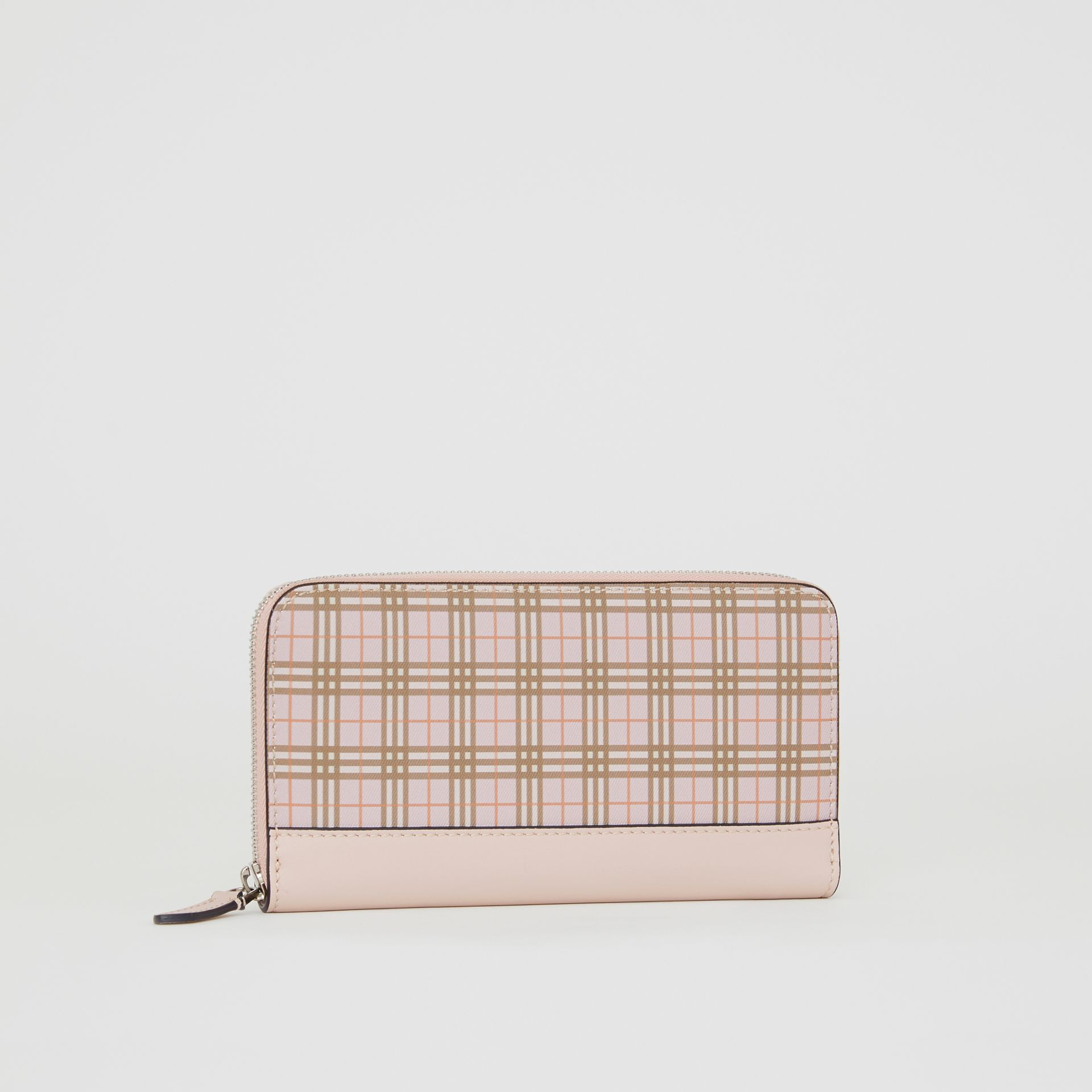 Small Scale Check and Leather Ziparound Wallet in Ice Pink - Women | Burberry - gallery image 4