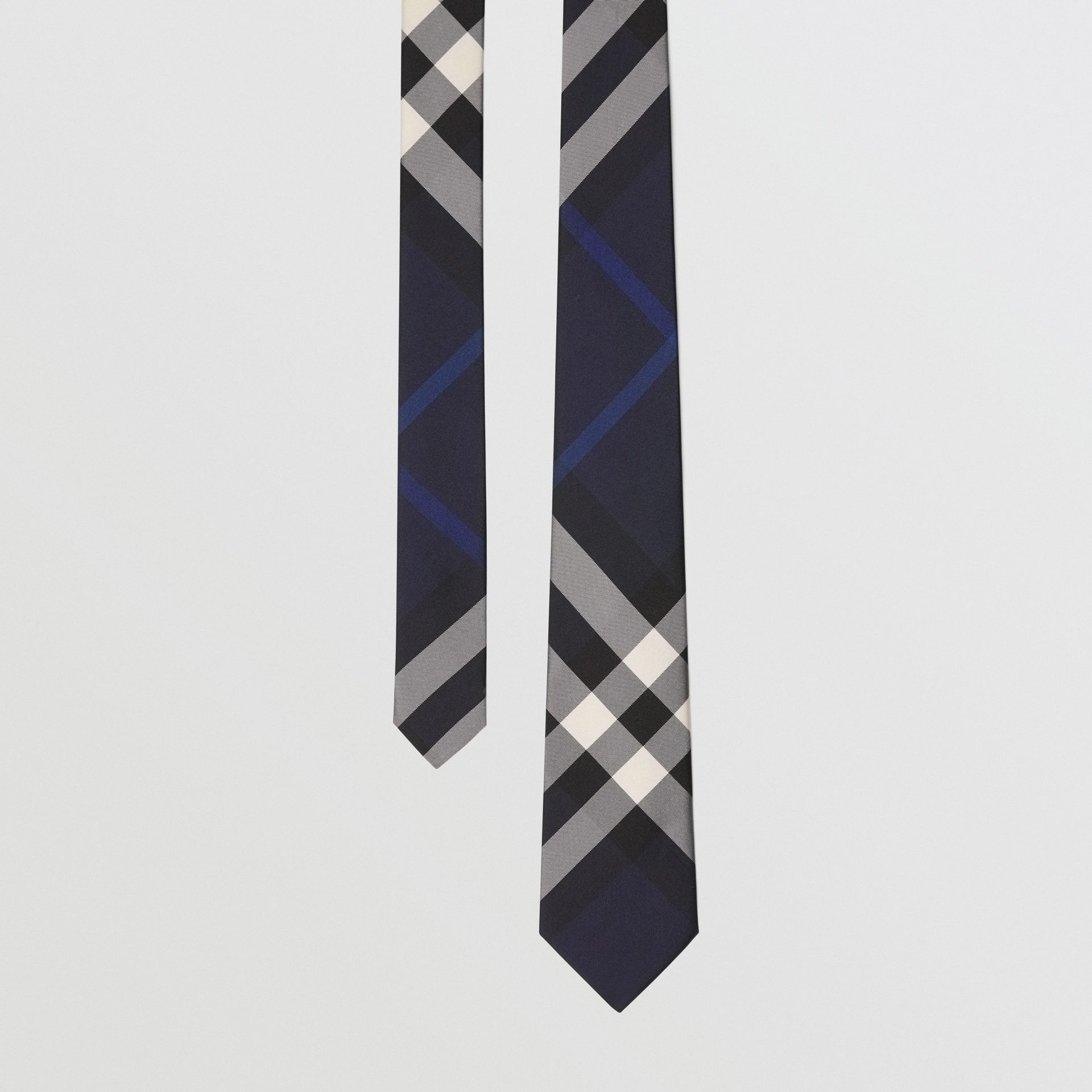 Modern Cut Check Silk Tie in Indigo Blue - Men | Burberry - gallery image 0