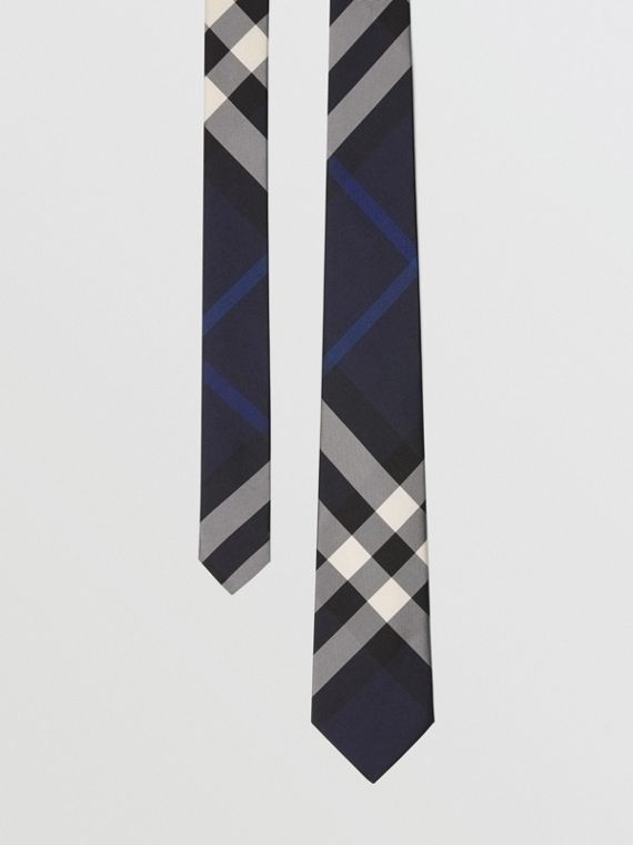 Modern Cut Check Silk Tie in Indigo Blue