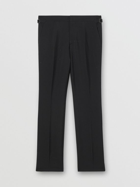 Classic Fit Embellished Mohair Wool Tailored Trousers in Black