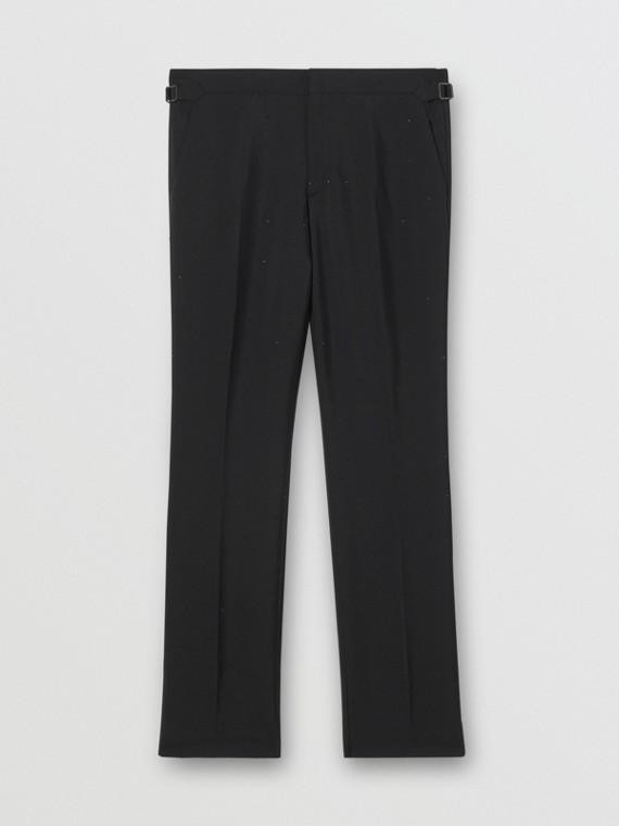 經典剪裁裝飾馬海羊毛套量裁製長褲 (黑色)