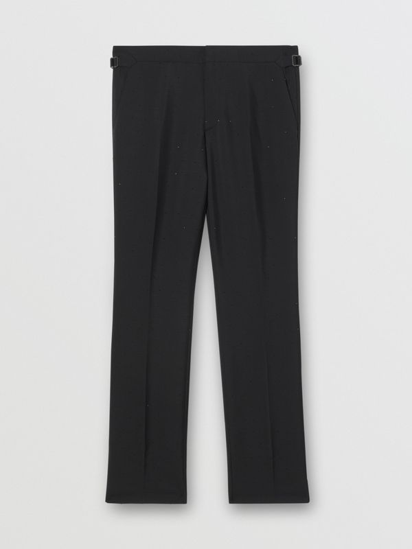 Classic Fit Embellished Mohair Wool Tailored Trousers in Black - Men | Burberry - cell image 3