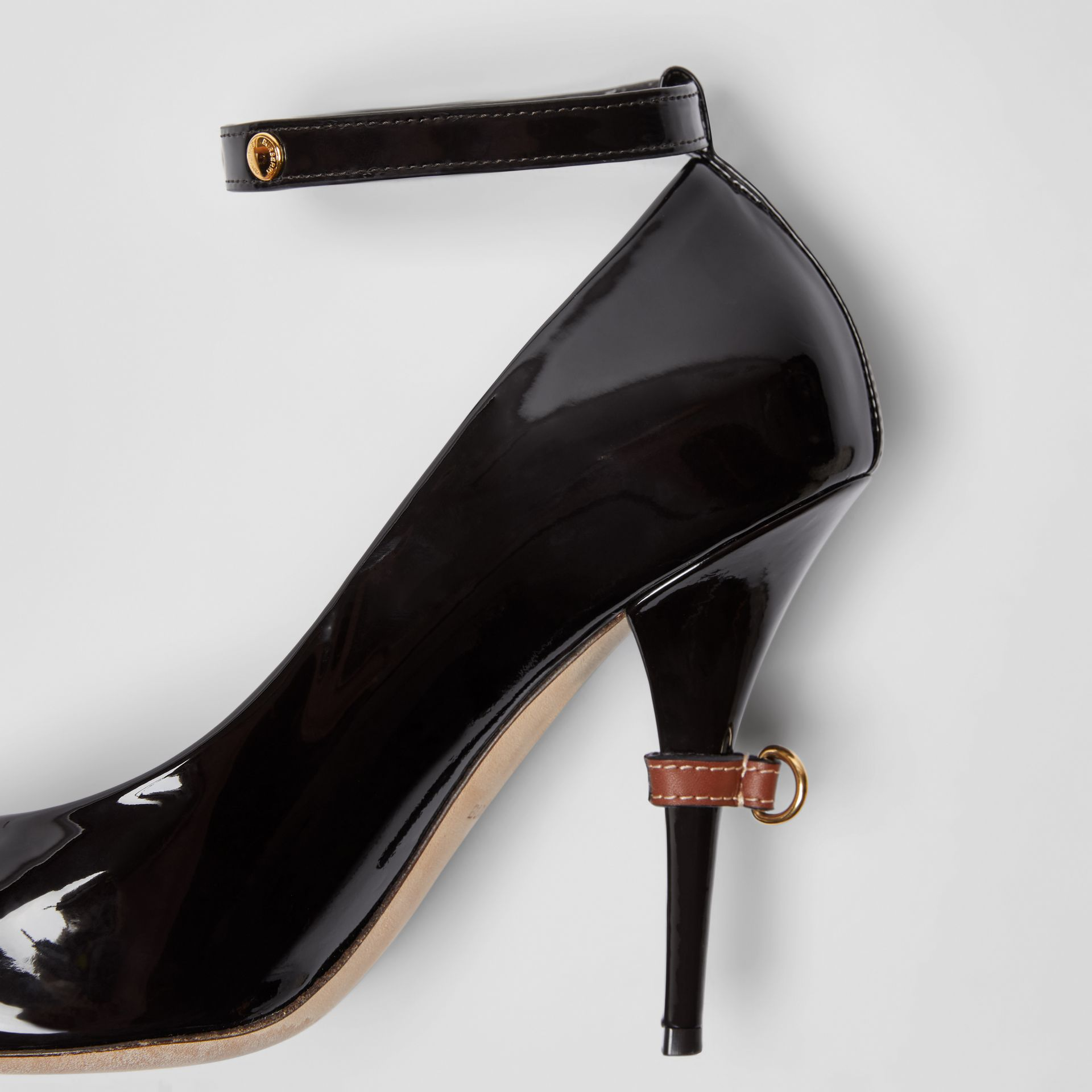 D-ring Detail Patent Leather Peep-toe Pumps in Coffee - Women | Burberry - gallery image 1