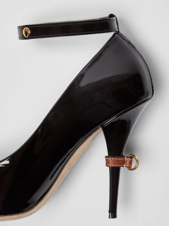 D-ring Detail Patent Leather Peep-toe Pumps in Coffee - Women | Burberry - cell image 1