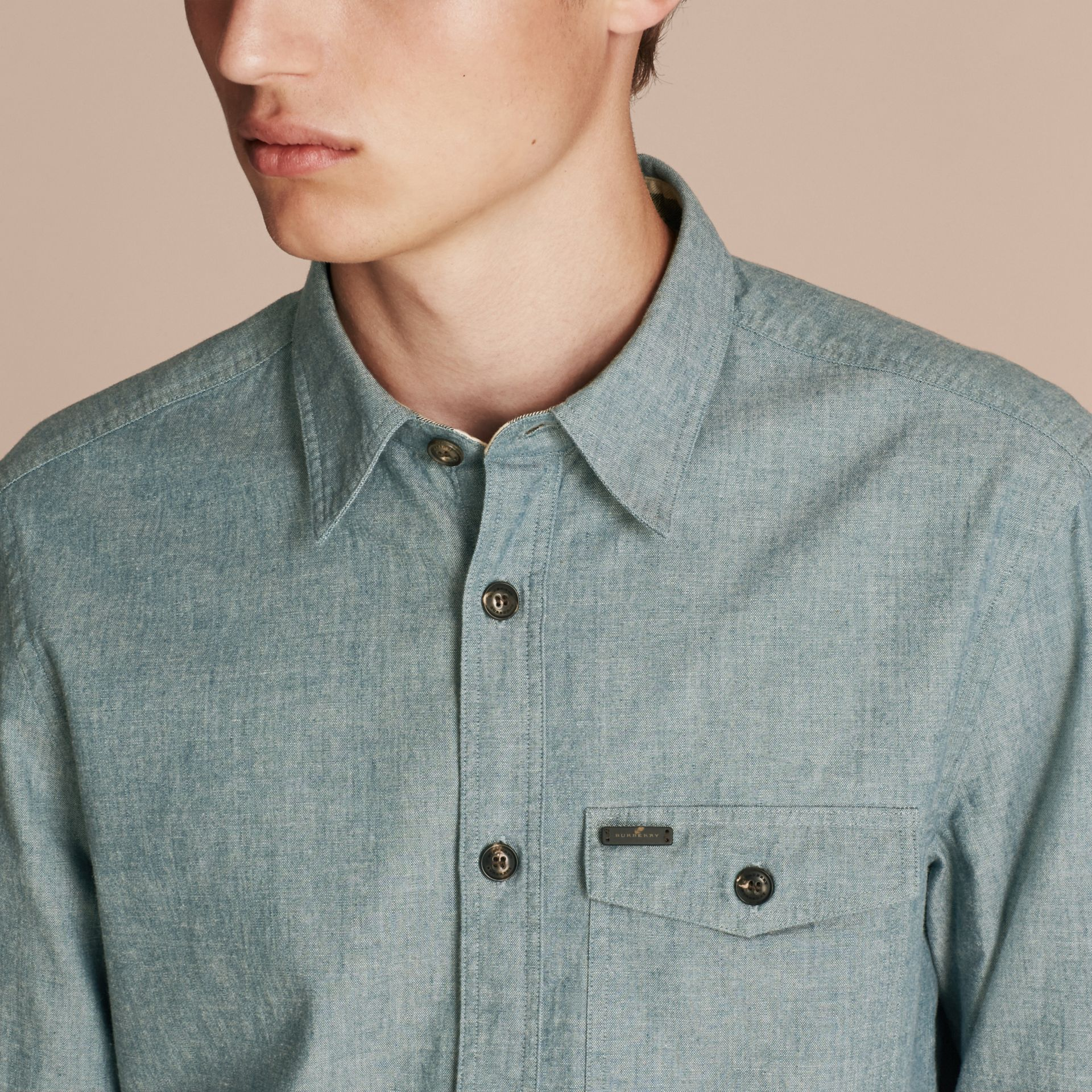 Mineral blue Chambray Cotton Shirt - gallery image 5