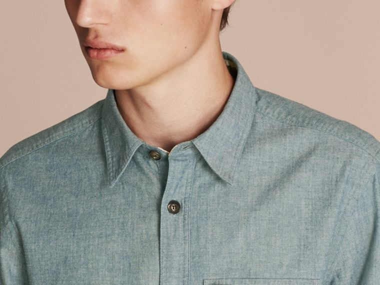 Mineral blue Chambray Cotton Shirt - cell image 4