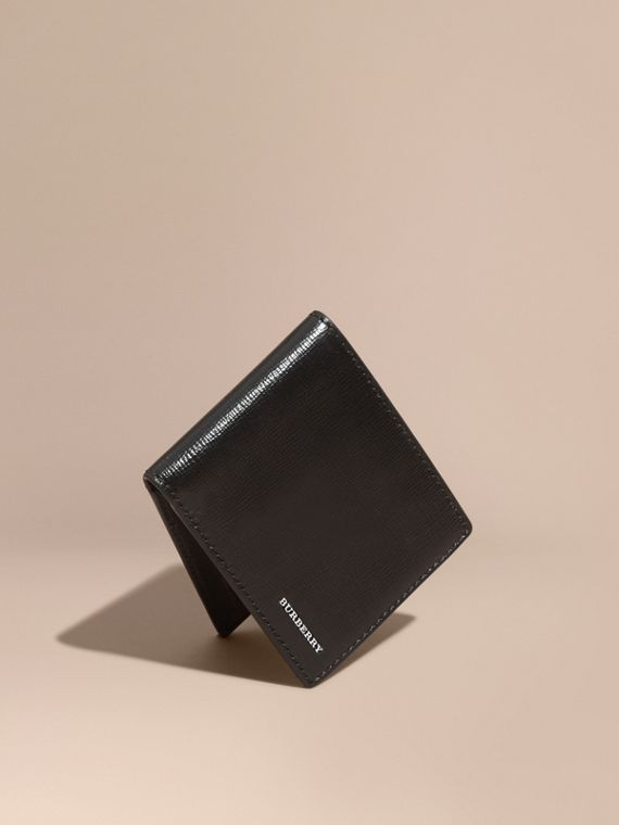 London Leather Bifold Wallet in Black | Burberry