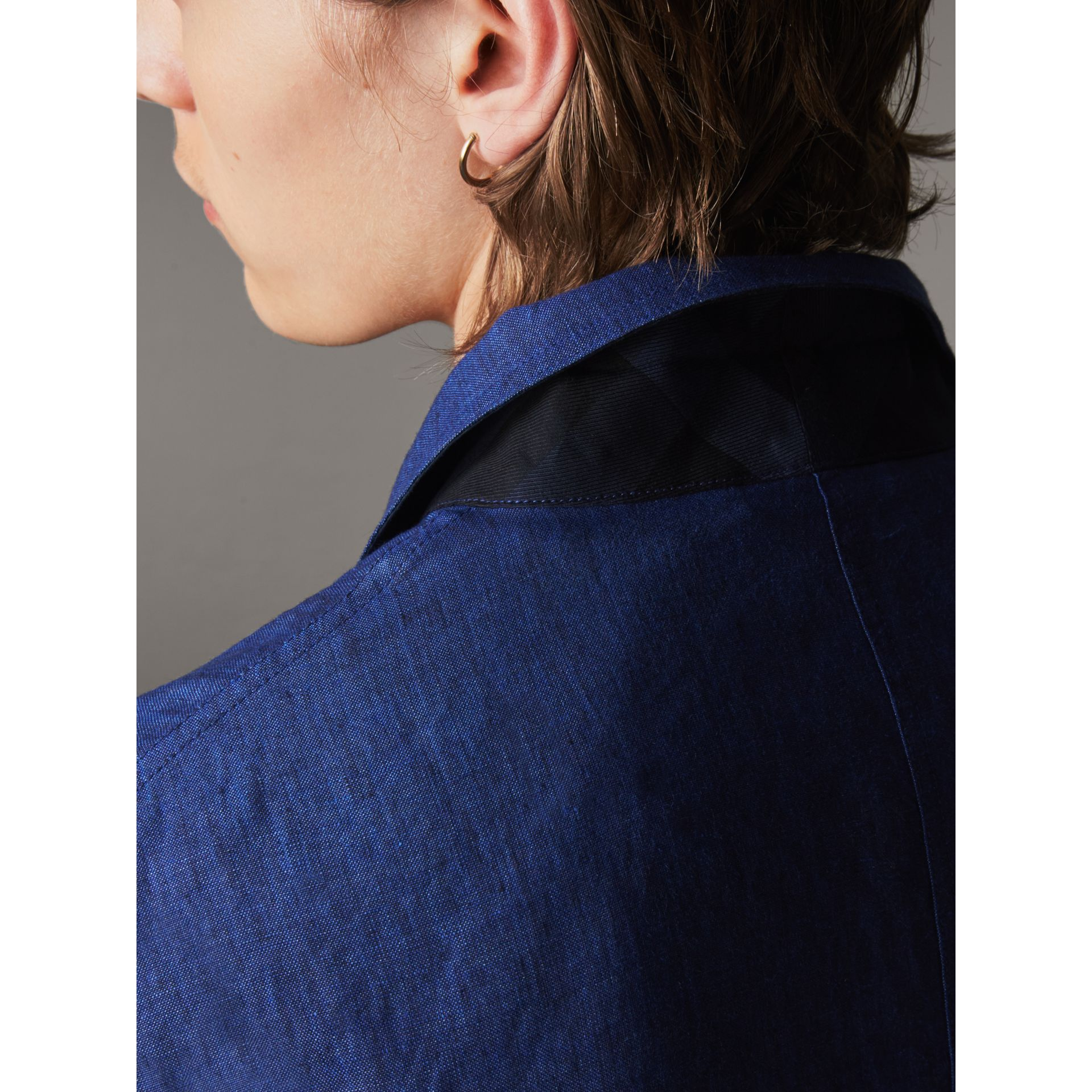 Linen Workwear Jacket in Steel Blue - Men | Burberry - gallery image 5