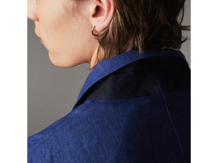Linen Workwear Jacket in Steel Blue - Men | Burberry - cell image 4