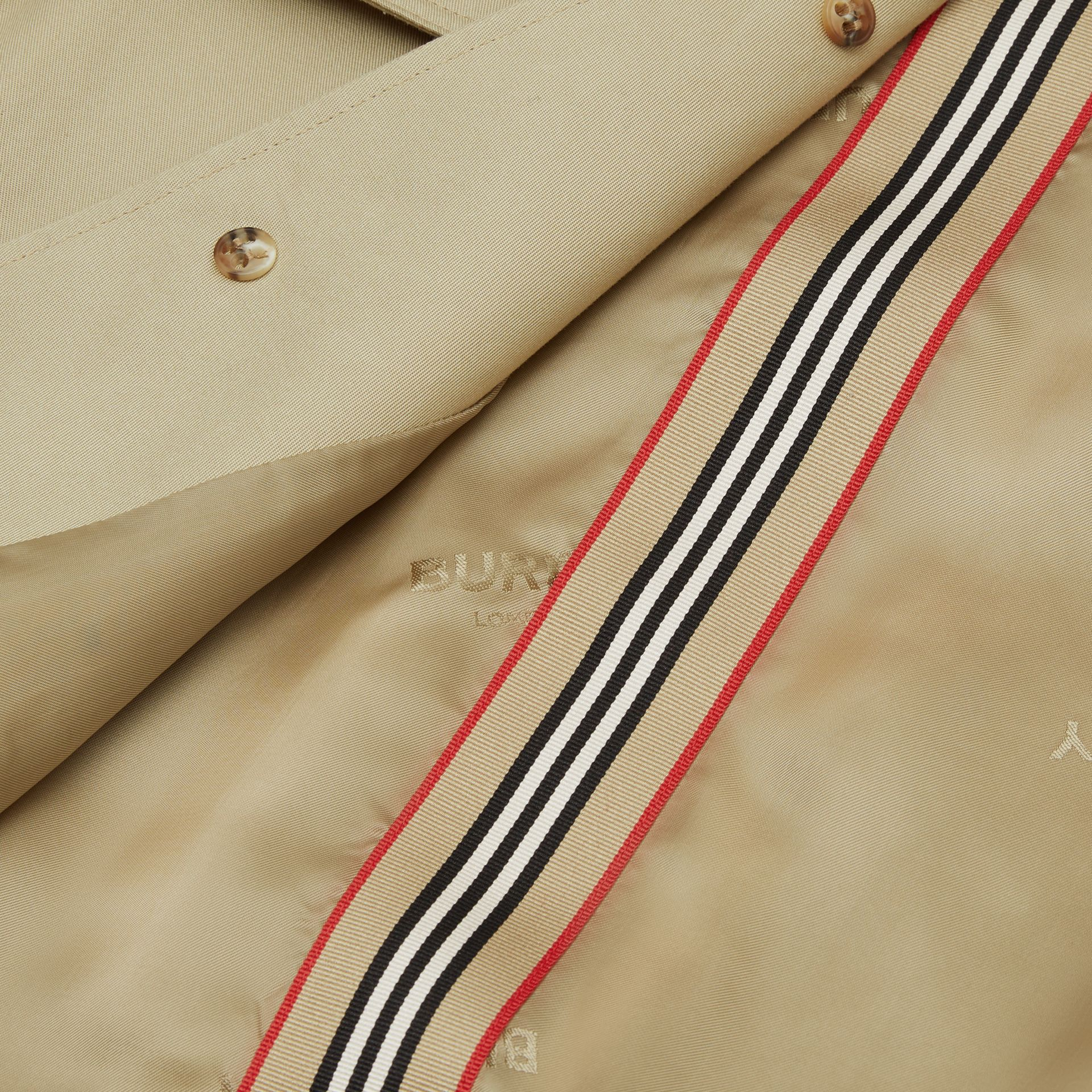 Detachable Hood Icon Stripe Trim Cotton Car Coat in Honey | Burberry - gallery image 5