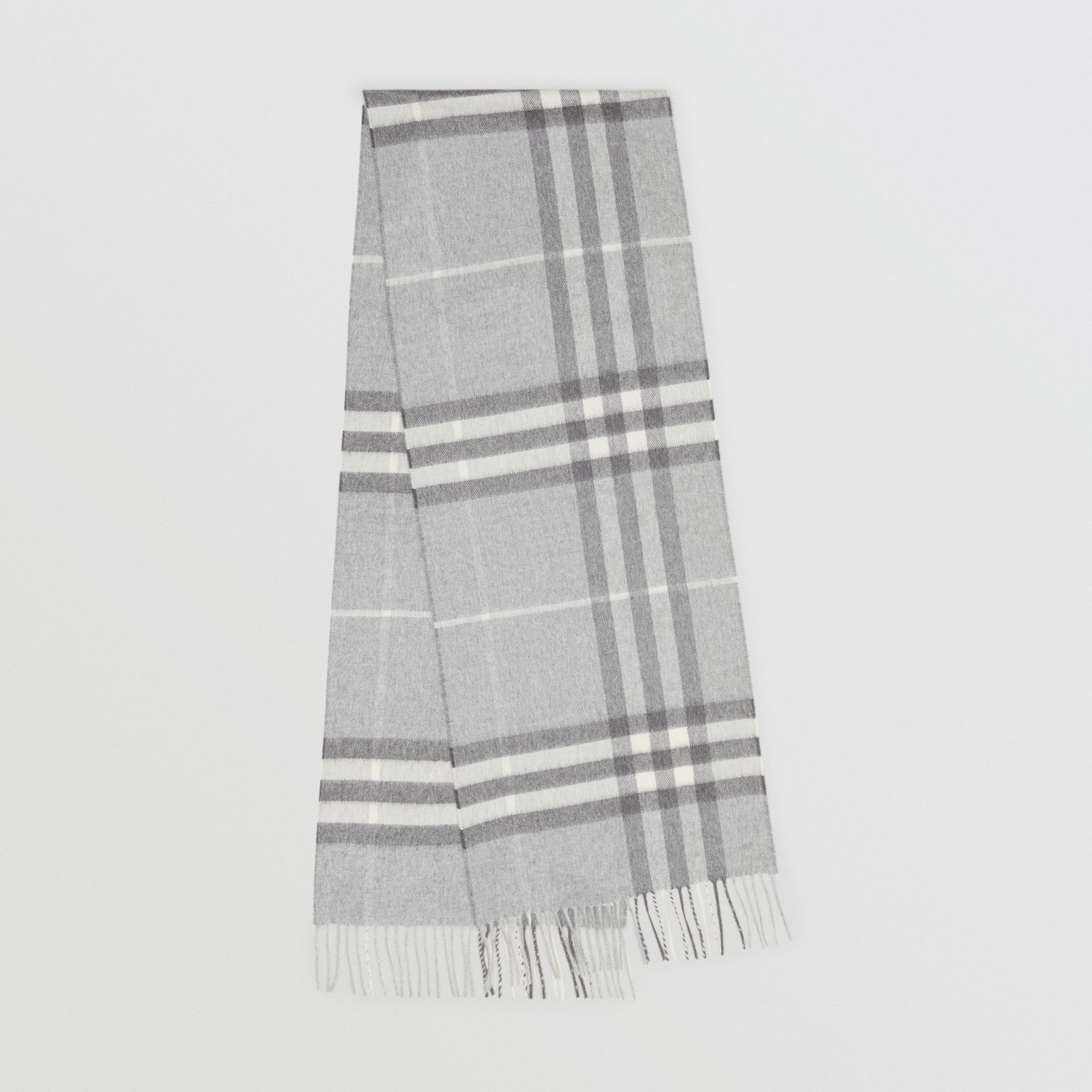 The Classic Check Cashmere Scarf in Pale Grey | Burberry United Kingdom - gallery image 0