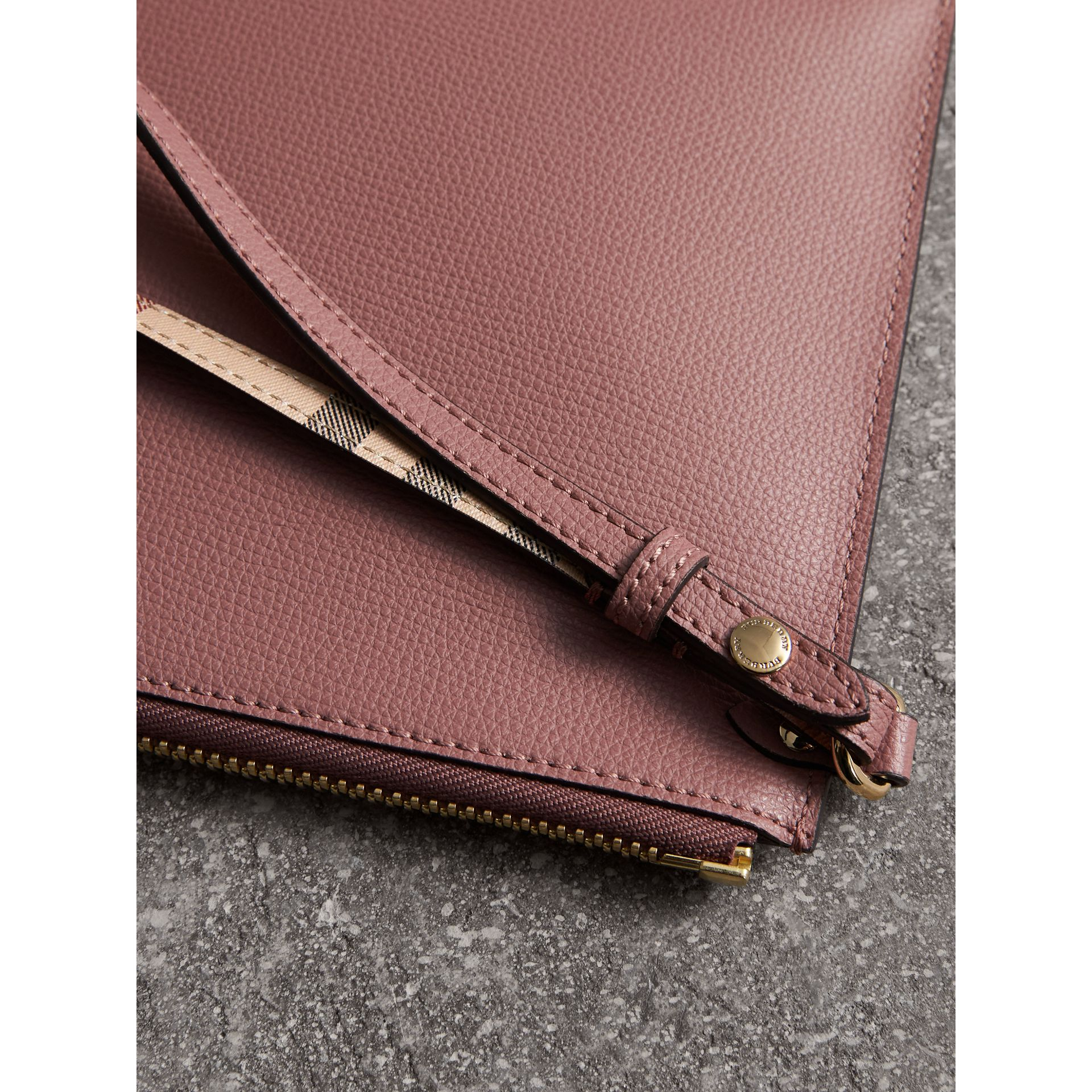Haymarket Check and Leather Pouch in Light Elderberry - Women | Burberry - gallery image 2