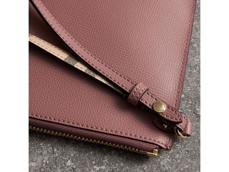 Haymarket Check and Leather Pouch in Light Elderberry - Women | Burberry - cell image 1