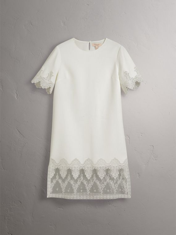 Lace and Silk Shift Dress in Natural White - Women | Burberry - cell image 3