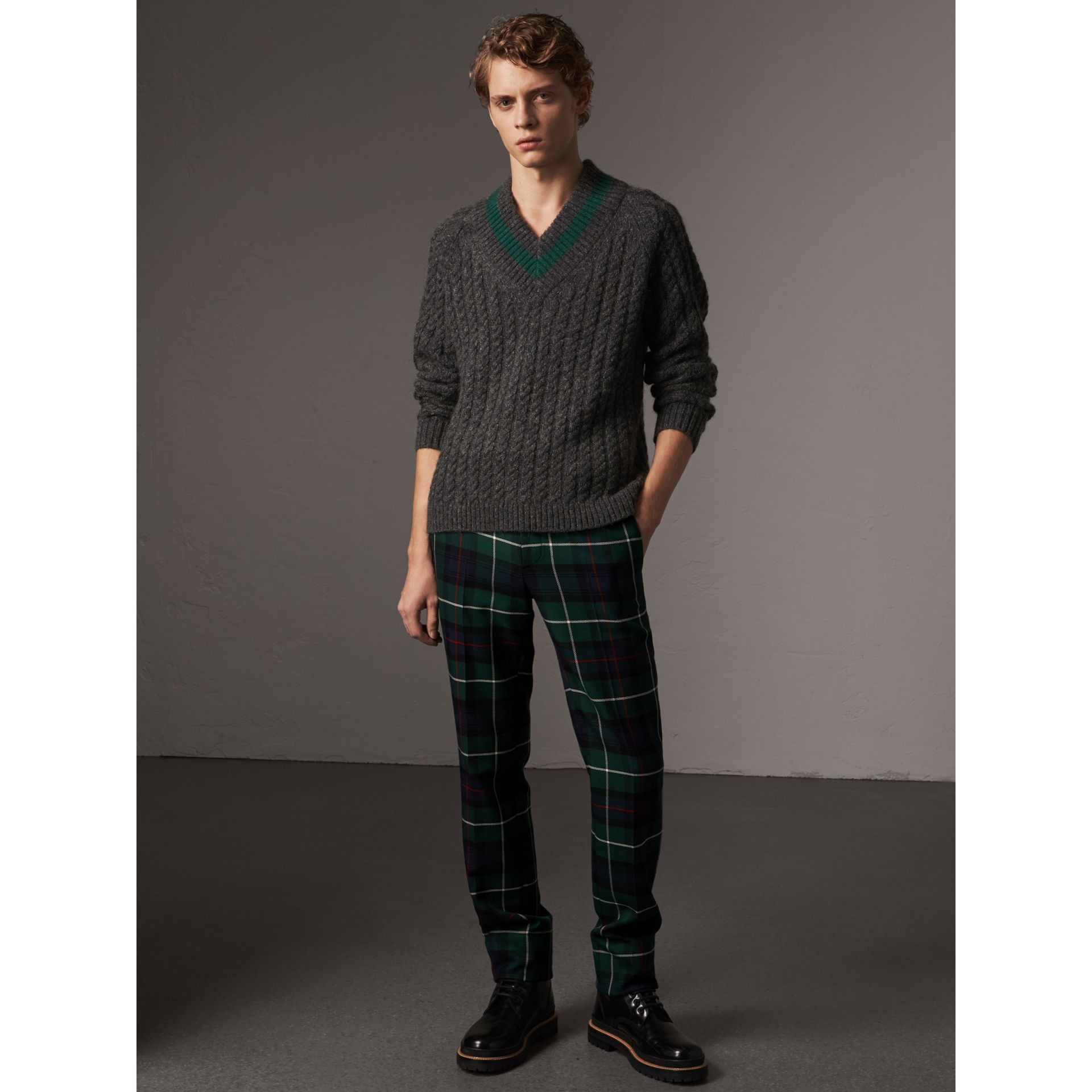 Cashmere Blend Cricket Sweater in Charcoal - Men | Burberry - gallery image 1