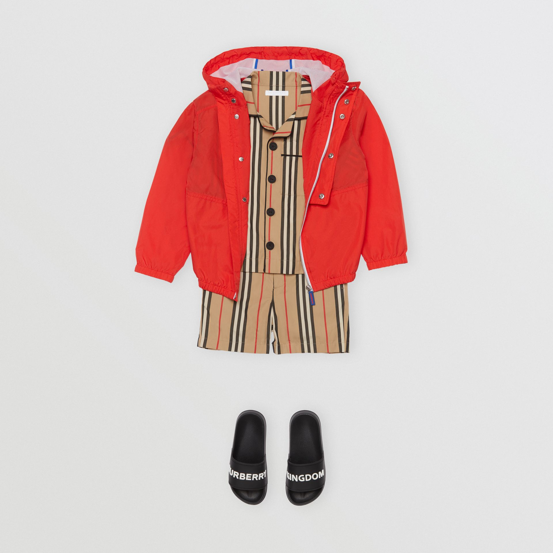 Logo Print Lightweight Hooded Jacket in Orange Red | Burberry - gallery image 2