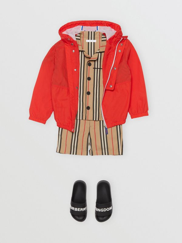 Logo Print Lightweight Hooded Jacket in Orange Red | Burberry - cell image 2