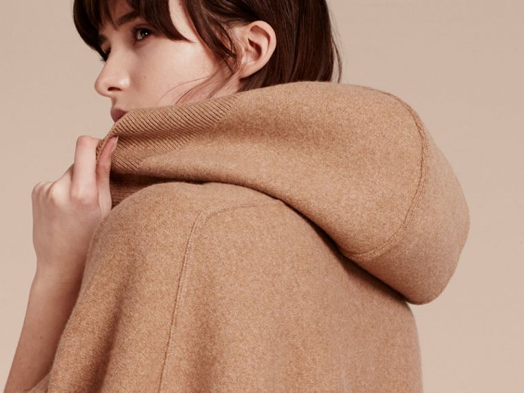 Wool Cashmere Blend Hooded Poncho Camel - cell image 4